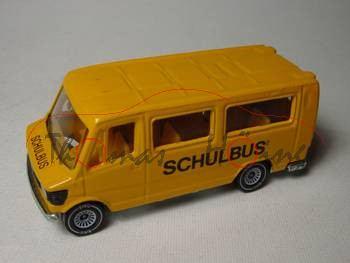 Mercedes 208 (Baureihe TN, Typ T 1) Schulbus, Modell 1977-1982, melonengelb, Glas rauch, IE mit Nots