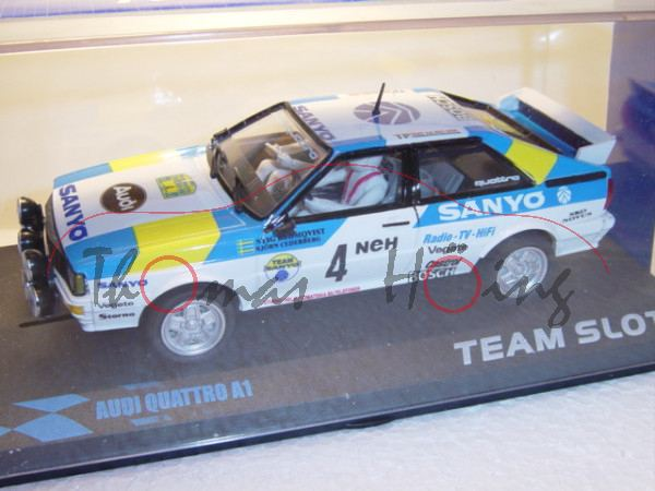 Audi Quattro, weiß, Schweden 1982, Blomqvist/Cederberg, Nr. 4, TEAM SLOT, 1:32, mb