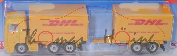 00000 Scania R380 (CR16, Modell 2004-2009) Koffer-LKW mit Tandem-Anhänger, gelb, DHL, P29e