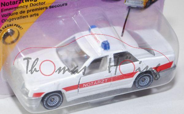00001 Mercedes-Benz 300 E (Baureihe W 124, Modell 1985-1986) Notarztwagen, reinweiß/verkehrsrot, inn