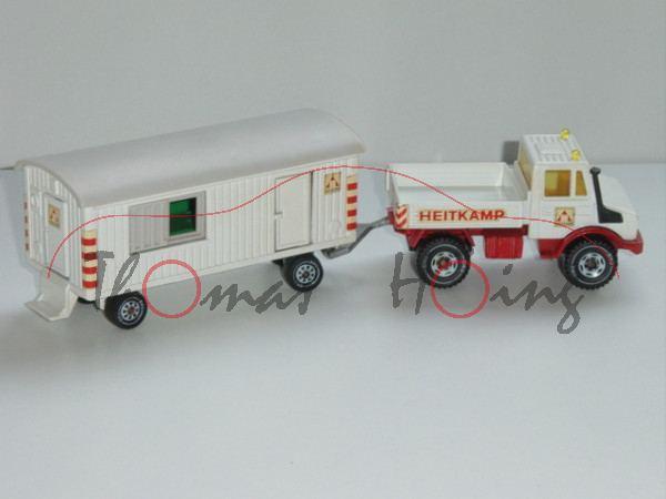 Unimog U 1500 (Baureihe 425, Modell 1975-1988) mit Bauwagen, weiß/verkehrsrot, HEITKAMP, LKW12/B5, L