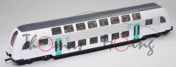 00101 F Bombardier Twindexx-Express Doppelstock-Triebwagen, grau/weiß, RATP, SIKU 1:87, L17mpK