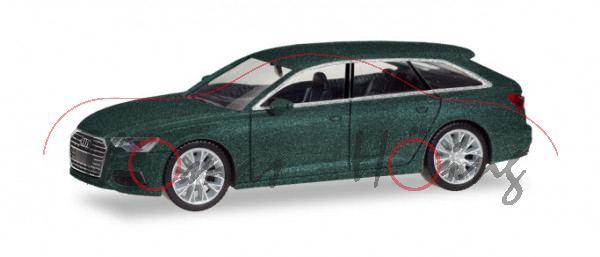 Audi A6 Avant (C8, Typ 4K, Modell 2018-), avalongrün metallic, Herpa, 1:87, mb (EAN 4013150430647)
