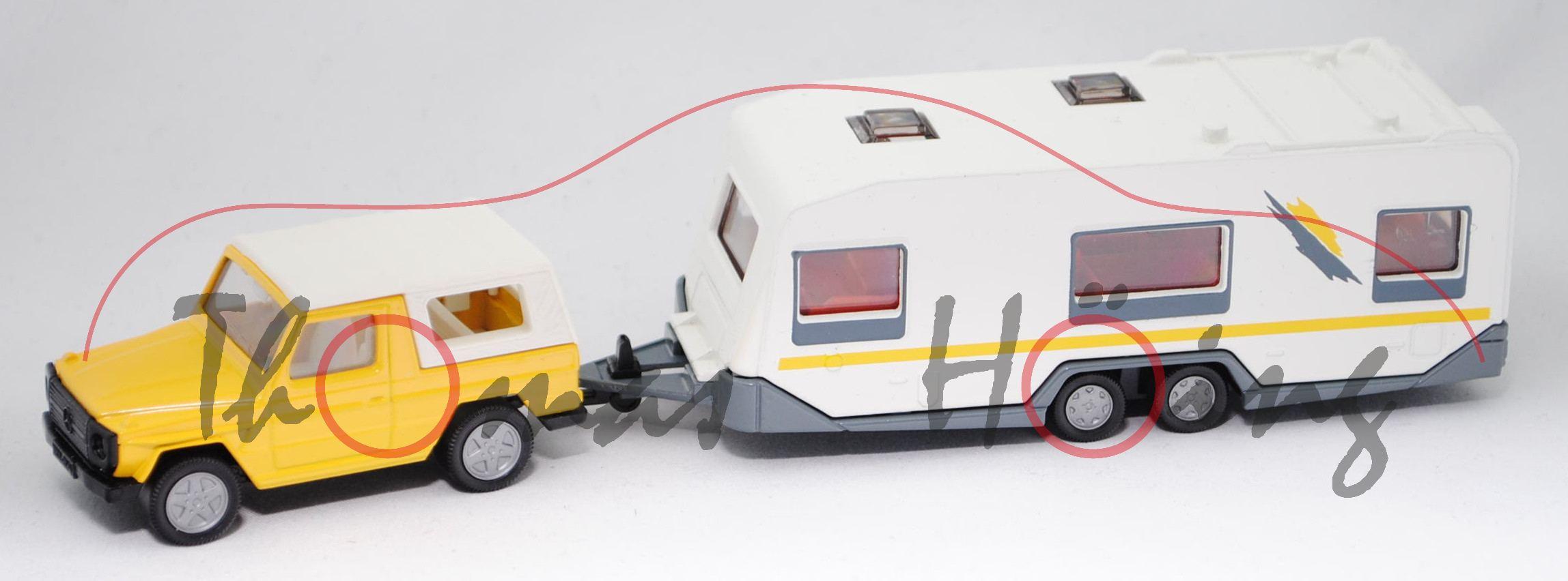 00005 mercedes benz 280 ge mod 80 90 mit knaus eurostar 620 tf mod 93 98 wohnwagen gelb. Black Bedroom Furniture Sets. Home Design Ideas