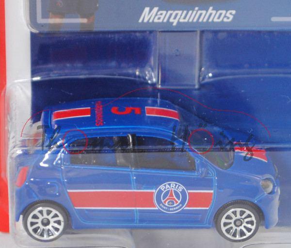 Renault Twingo (3. Gen., Mod. 14-19), blau, 5 / MARQUINHOS, m. Sammelkarte, majorette, 1:54, Blister