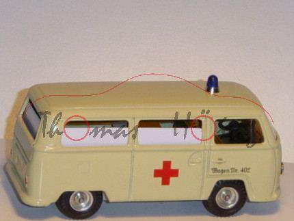VW T2 Krankenwagen, hellelfenbein, Chassis silbergrau, rotes Kreuz NOTRUF 40 200 / Wagen Nr. 402, mi