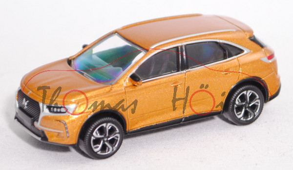 DS7 Crossback (DS Automobiles, Mod. 18-), byzantin-gold, 17 Zoll Felgen BERLIN, ca. 1:64, Norev, mb