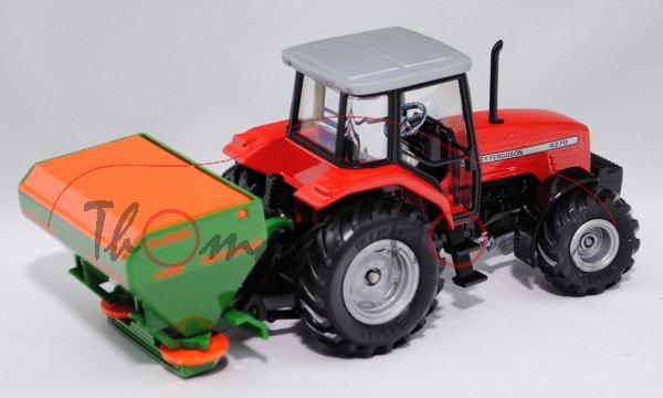 00001 Massey Ferguson 4270 mit Düngerstreuer, verkehrsrot, Streuer smaragdgrün, AMAZONE ZA-M MAX / 1