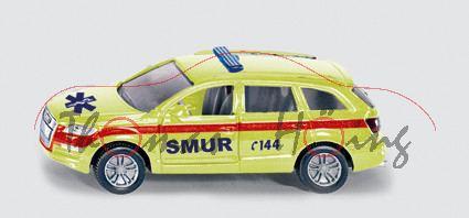 03901 Notarzt Polizei Feuerwehr, bestehend aus 1429 Audi Q7 leuchtgelb SMUR C144 + 1307 VW Passat Va