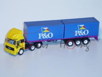 00600 Iveco TurboStar Container-LKW, signalgelb/schwarz/signalviolett, P&O, LKW12, GB