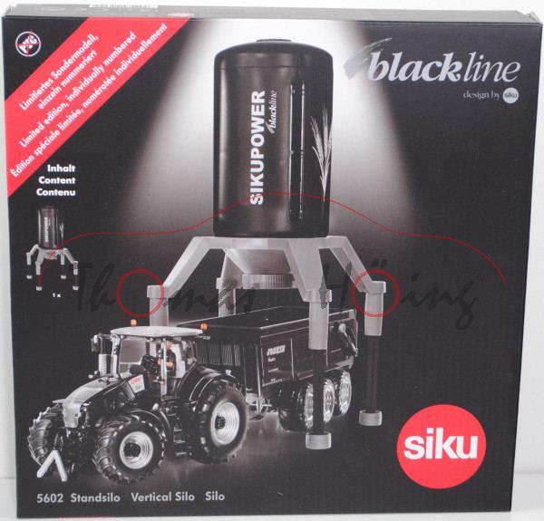 00402 Standsilo, schwarz/weißaluminiummet., SIKUPOWER / blackline, m. Granulat, 1:50 / 1:32, Limited