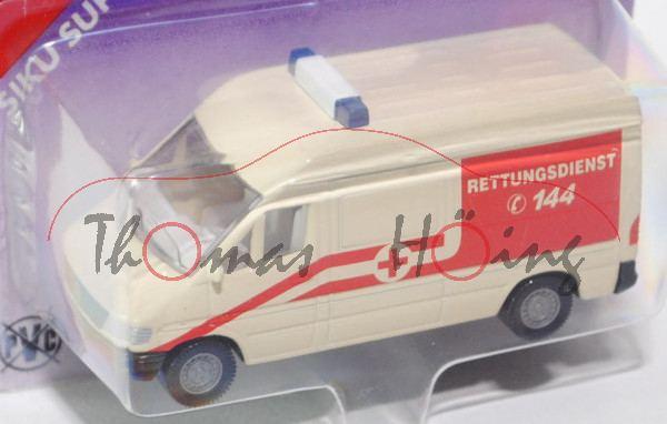 03800 Mercedes-Benz Sprinter (T1N, Baureihe W 901) Kastenwagen Krankenwagen, Modell 1995-2000, helle
