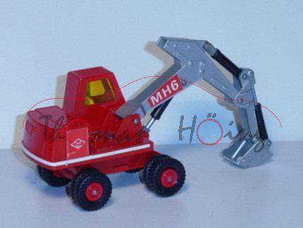 Hydraulic Excavator, verkehrsrot, Aufkleber O&K und MH6 auf dem Bagger, Matchbox King Size, mb