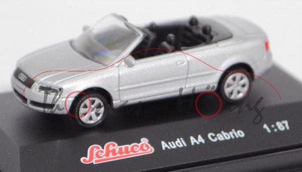 Audi A4 Cabriolet 3.0 (Baureihe B6, Typ 8H, Mod. 2002-2004), lichtsilber metallic, Schuco, 1:87, mb