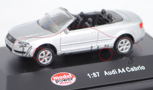Audi A4 Cabriolet 3.0 (B6, Typ 8H, Mod. 02-04), lichtsilber met., model power MINIS, 1:87, PC-Box