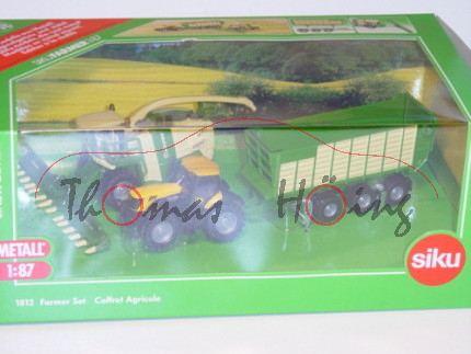 Farmer Set bestehend aus: 1882 Krone Feldhäcksler Big X1000, smaragdgrün/hellelfenbein; 1881 JCB 825