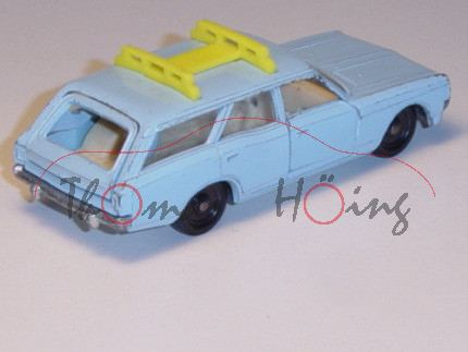00001 Opel Rekord C Caravan (Typ fünftürig, Modell 1966-1971), taubenblau, innen beige, Lenkrad schw