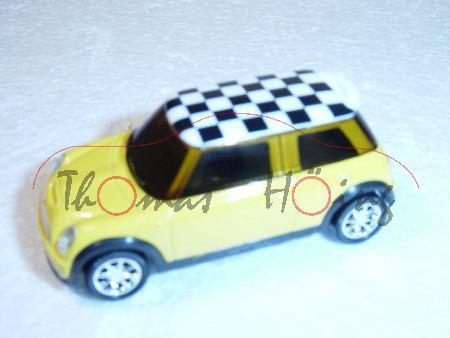 Mini Cooper S, gelb/weiß, mit schwarzen Karos auf dem Dach, 1:50, Norev SHOWROOM, mb