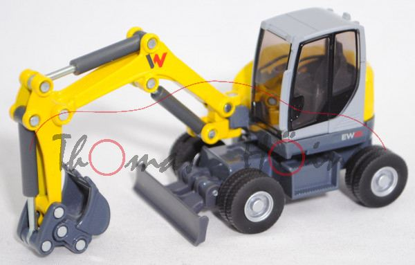 00000 Wacker Neuson EW65 Mobilbagger mit Tieflöffel (Modell 2015-), gelb/grau, SIKU, 1:50, L17mpK