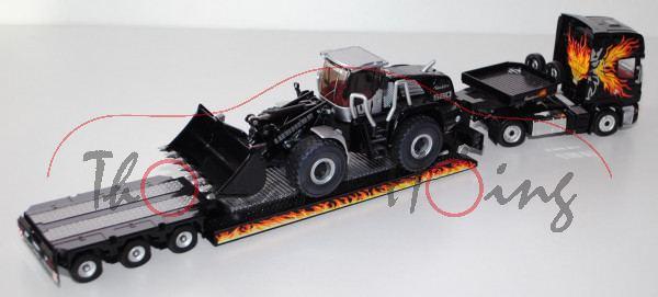 Scania R 620 mit Auflieger und LIEBHERR 580 2plus2 Radlader, schwarz, blackline flames design by sik