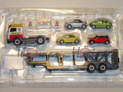 Audi TT Roadster, Mj. 99, silbermetallic, Cararama, 1:72, mit Autotransporter und VW Beetle, Mini Co