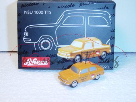 NSU 1000 TTS, orange, 1. Frankenland-Ausfahrt 2005, Schuco, 1:90, limitiert auf 555 Stück, Werbescha