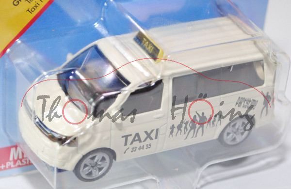 00009 VW T5 facelift Multivan (Mod. 09-15) Großraumtaxi, hellelfenbein, TAXI , Dachschild zinkgelb