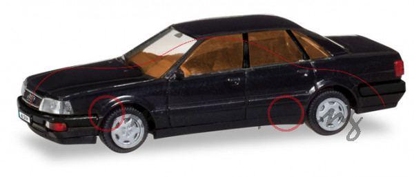 Audi V8 (D11, Typ 4C, Modell 1988-1994), schwarz, Herpa H-Edition, 1:87, mb (EAN 4013150028974)