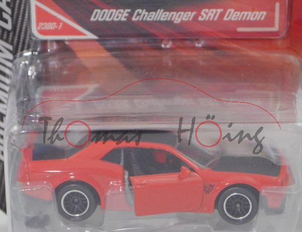 Dodge Challenger SRT Demon (Mod. 2017-2018), feuerrot/schwarz, Nr. 238D-1, majorette, 1:66, Blister