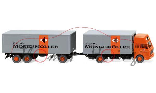 MB 1638 m. Hochdach (Mod. 77-80) Kofferlastzug, orange/grau, GEBR. / MÖNKEMÖLLER, Wiking, 1:87, mb