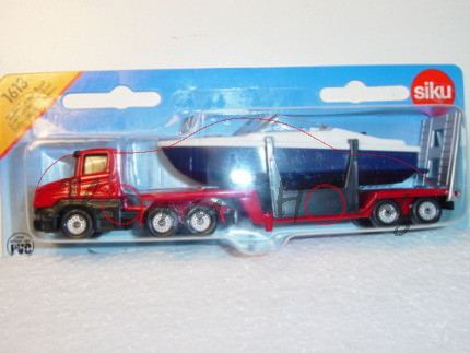 00001 Scania CT14 (Typ Serie 4, T-Fahrerhaus, Basis, Mod. 95-04) Tieflader mit Boot, dunkel-verkehrs