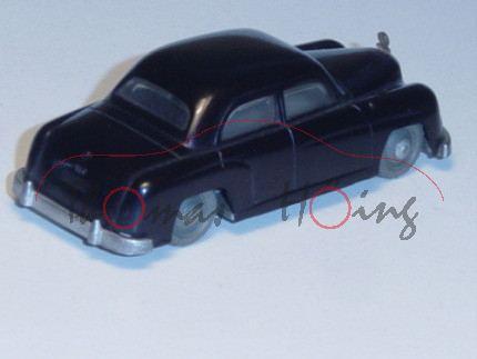 Mercedes 180 (Modell 53), schwarz, Chassis silbergrau, graue Räder, 1x Achshalterung gebrochen, 1 St