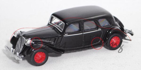 Citroen Traction Avant 15-Six (15/6) (Modell 1939-1947), schwarz, Felgen rubinrot, 1:58, Norev, mb