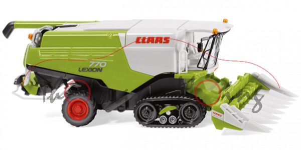 CLAAS LEXION 770 TT Mähdrescher mit CLAAS CONSPEED Maispflücker, claasgrün/grau, Wiking, 1:87, mb