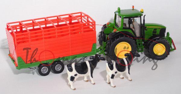 00000 John Deere 7530 Traktor mit Viehanhänger, smaragdgrün und smaragdgrün/rot, mit 2 Kühen, L16nm