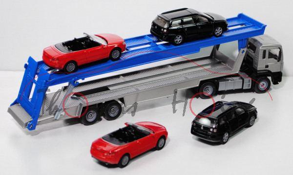03900 MAN TGA 18.460 M (Modell 2000-2007) PKW Transporter mit 2 Stück Audi A4 Cabrio (1339) in hell-