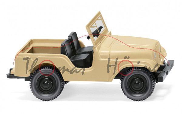 Willys Jeep CJ-2A (Hersteller: Willys-Overland Motors, Mod. 45-49), beige/schwarz, Wiking, 1:87, mb