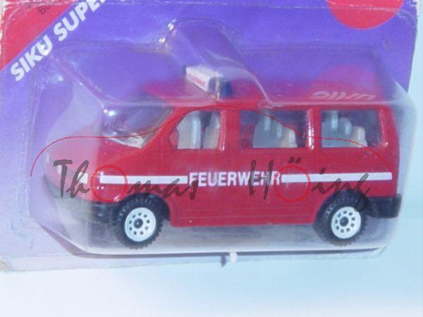 VW T4 Caravelle (Modell 1990-1995) Feuerwehrbus, signalrot, innen lichtgrau, Lenkrad integriert, FEU
