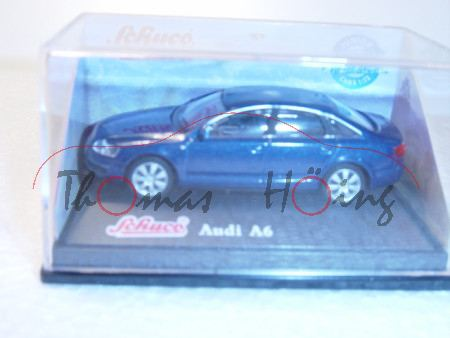 Audi A6, dunkelblaumetallic, Mj 2004, Schuco, 1:72, PC-Box