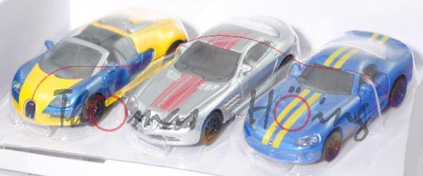 00000 Geschenkset Sportwagen: Bugatti Veyron Grand Sport + MB SLR McLaren + Dodge Viper, L17mpP