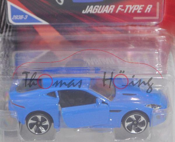 Jaguar F-Type Coupé R 5.0 V8 AWD (Modell 2014-2017), d.-himmelblau, Nr. 293B-3, majorette, 1:59, mb