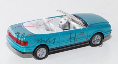 Audi Cabriolet (B4, Typ 8G), Modell 1991-2000, wasserblau, innen reinweiß, Herpa, 1:87, mb