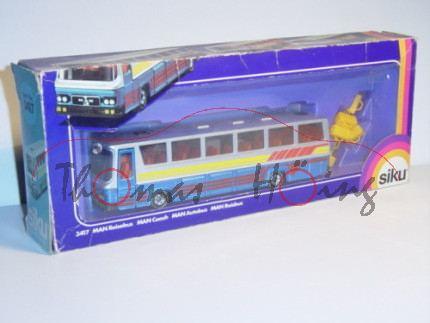 MAN SR 240 - Mitteltür Reisebus, Modell 1975-1992, silbergraumetallic/verkehrsblaumetallic, 2 offene