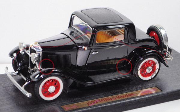 Ford Model B 3-Window Coupé (Typ 2-türer, Baujahr 1932), schwarz, ROAD LEGENDS / Yatming, 1:18, mb
