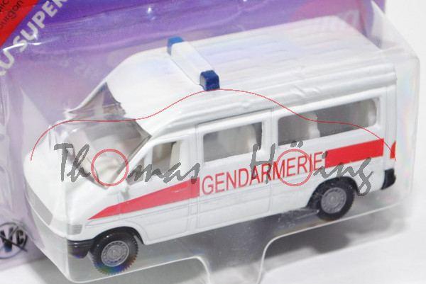 03800 Mercedes-Benz Sprinter (T1N, Baureihe W 901) Kleinbus Polizeibus, Modell 1995-2000, reinweiß,