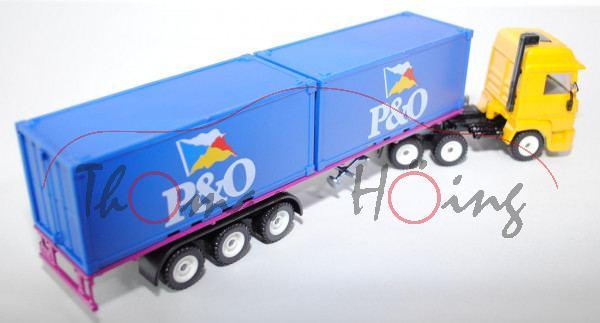 00101 Renault V8 TURBO Intercooler Container-LKW, kadmiumgelb/verkehrspurpur, P&O, Frontscheinwerfer
