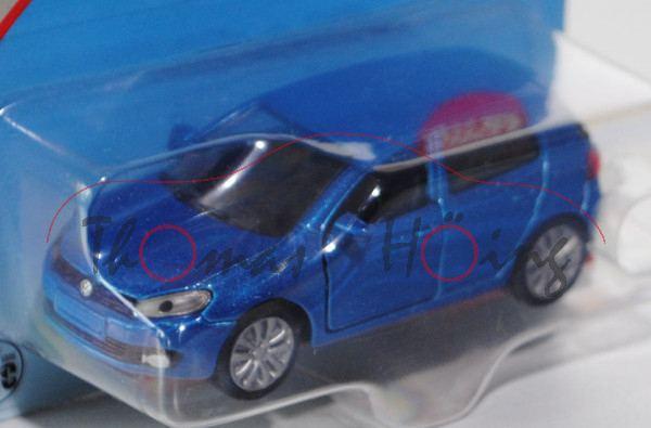 00000 VW Golf VI 2.0 TDI (Typ 1K), Modell 2008-2012, verkehrsblaumetallic, innen schwarz, Lenkrad sc