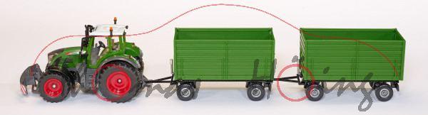 00000 Fendt 722 Vario (Mod. 2011-) mit 2 Anhänger, nature grün/schwarz, SIKU 1:32, L17mpP (Limited)