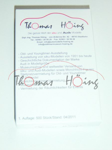 Museums-Quartett Thomas Höing, 33 Karten, u.a. mit Audi, Auto Union, Bischofberger, Crayford, DKW, P