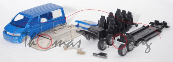 00403 Bastelbus/Bausatz VW T5 facelift Multivan 2.0 TDI (Mod. 09-15), enzianblaumet., B19, 1:61, mb